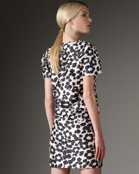 Puff-Sleeve Printed Dress