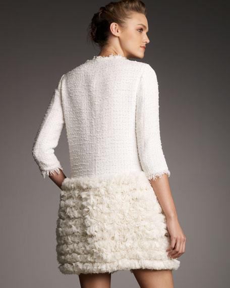 Rosette-Bottom Tweed Coat