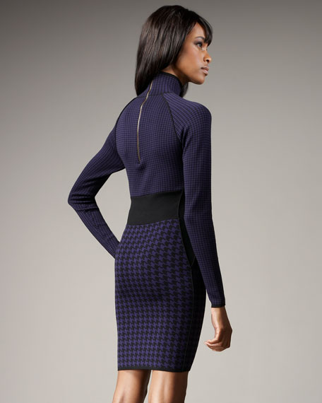 Turtleneck Herringbone Dress