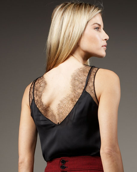 Mimosa Lace-Inset Silk Top, Black