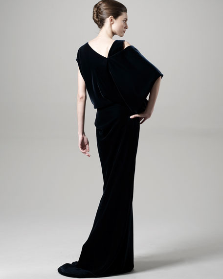 Velvet Asymmetric-Sleeve Gown