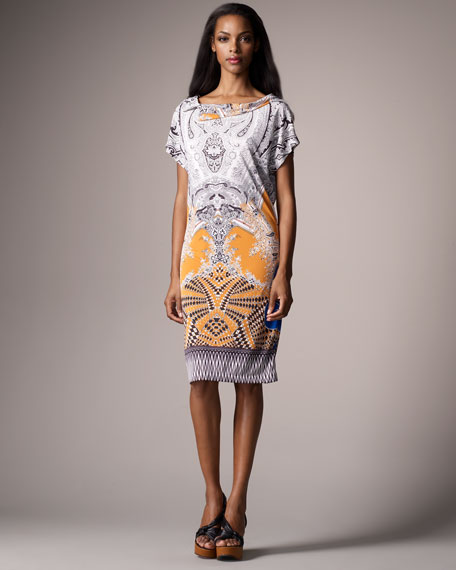 Tribal Paisley-Print Jersey Shirtdress