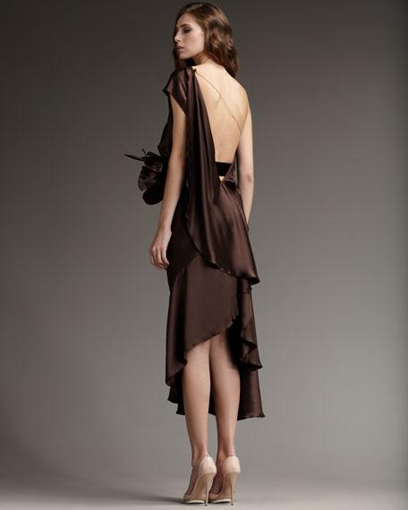 One-Shoulder Floral-Belt Dress