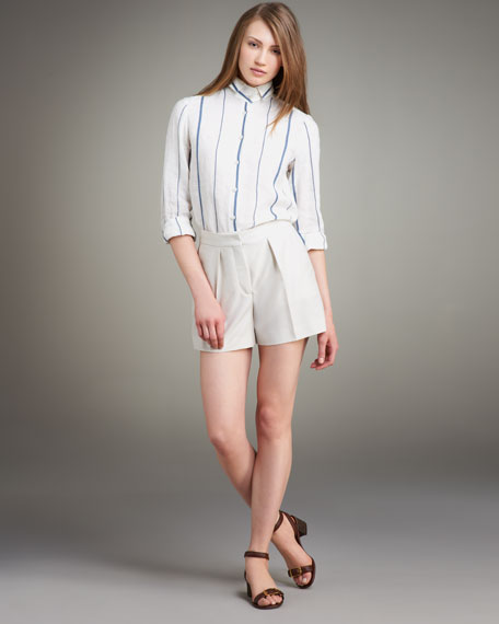Pleated Pique Shorts