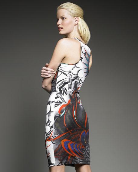 Bird-Print Jersey Tank Dress