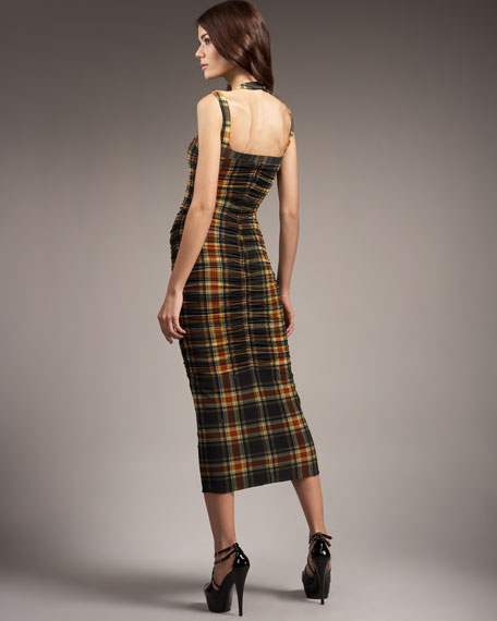 Ruched Plaid Halter Dress