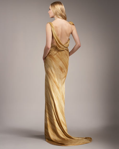 Draped Tissue-Crepe Gown