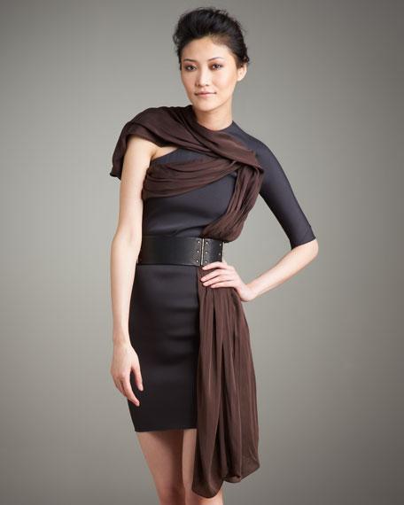 One-Shoulder Chiffon-Overlay Dress