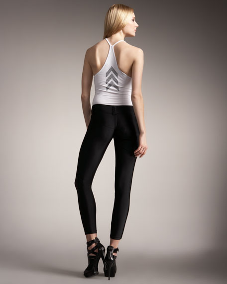 Slingers Front-Zip Silk Leggings