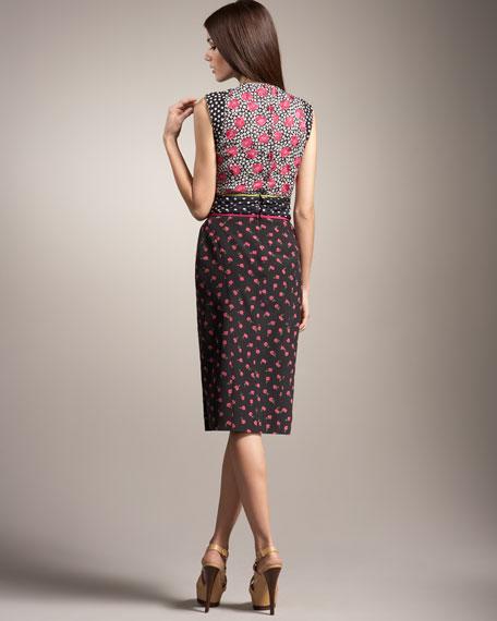 Tri-Print Sheath Dress