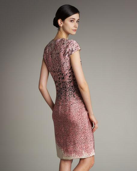 Flamingo-Print Cap-Sleeve Silk Dress