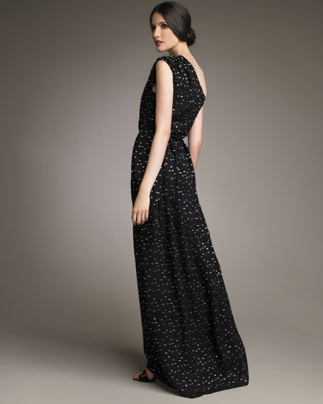One-Shoulder Fil Coupe Gown