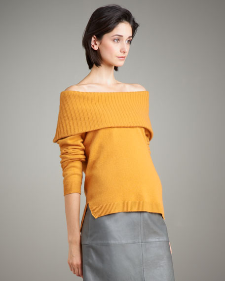 Cashmere Convertible-Collar Sweater
