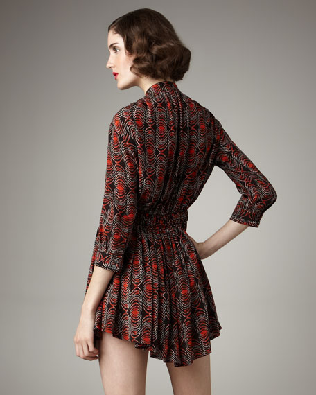 Gather-Waist Printed Dress