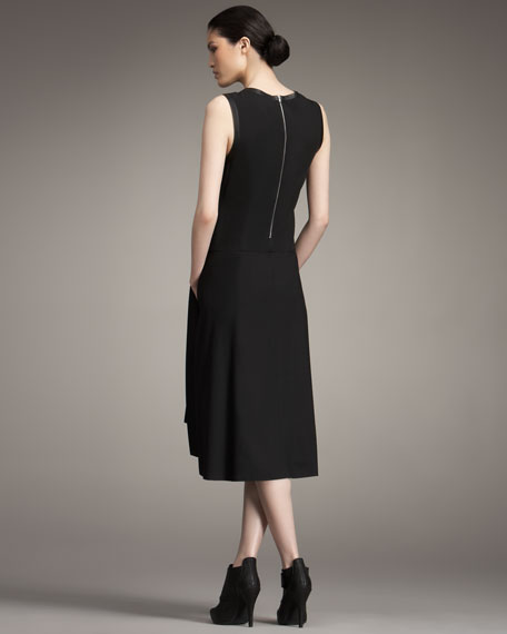 Pleated Leather-Trim Dress