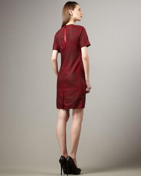 Short-Sleeve Check Dress