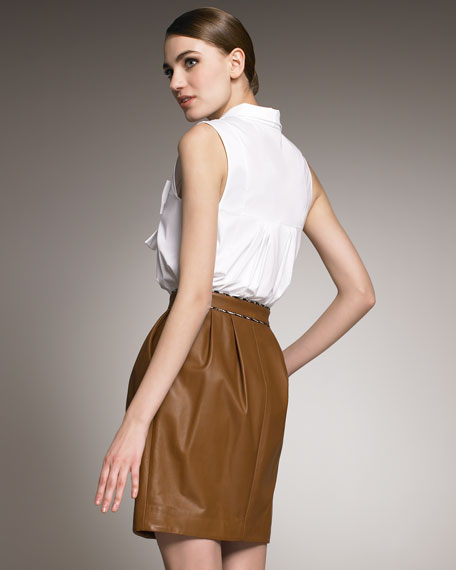 Rachelle Front-Zip Leather Skirt