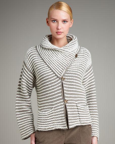 Striped Shawl-Collar Jacket