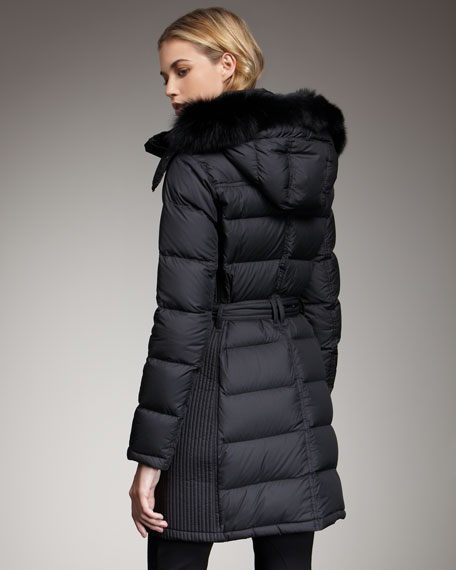 Long Fox-Trim Puffer Coat