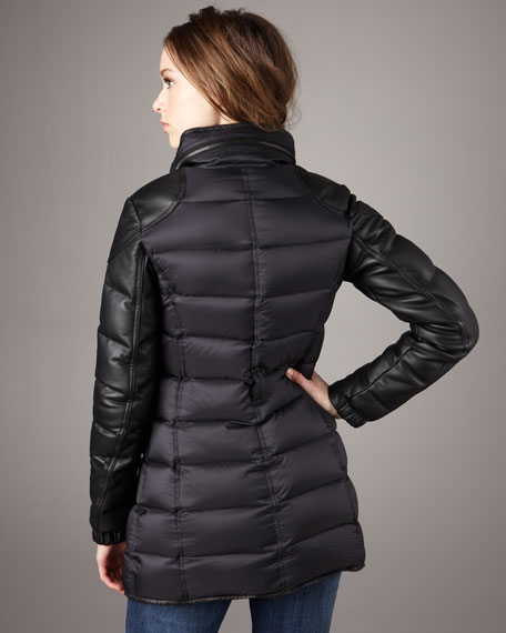 Leather-Sleeve Puffer Coat