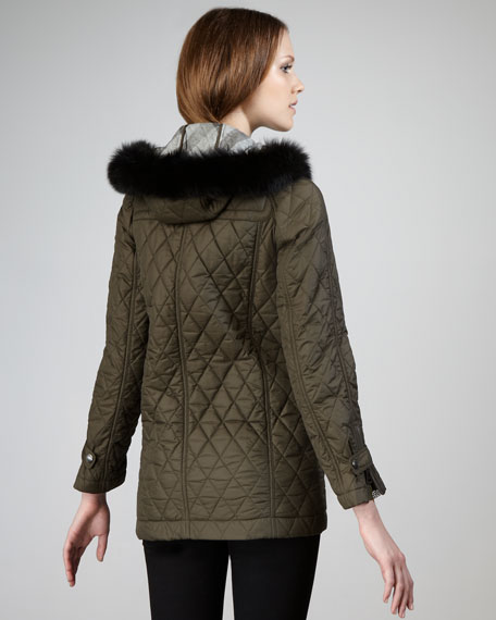 Fur-Hood Quilted Toggle Coat, Dark Olive