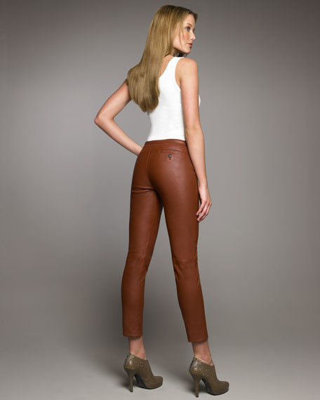 Side-Zip Leather Pants