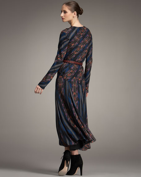 Spiral-Striped Long Dress
