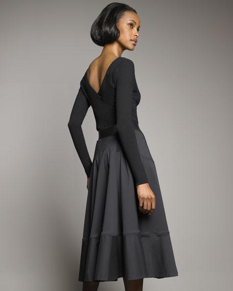 Ruffle-Skirt Belted Dress