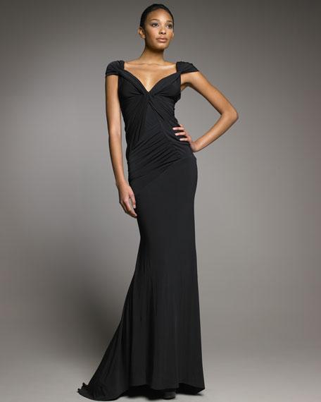 Cap-Sleeve Gown