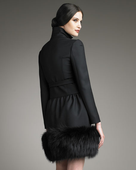 Fur-Hem Bow-Belt Coat