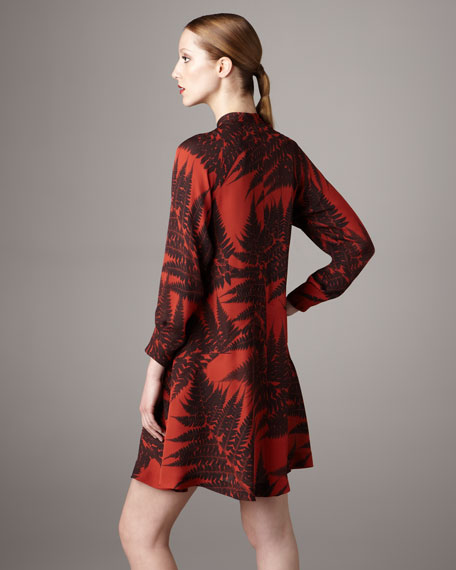 Fern-Print Tie-Neck Dress