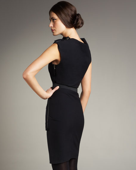 Ruched-Detail Sheath Dress