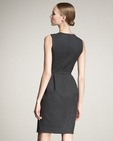 Crystal-Detail Gabardine Dress