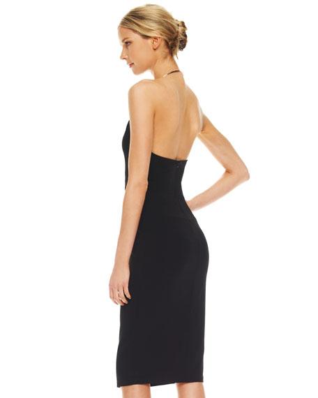 Ring-Neck Twist-Front Dress, Black