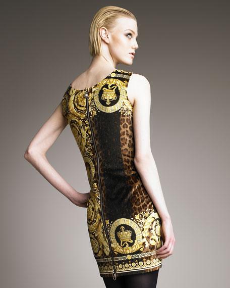Mixed-Print Velvet Dress