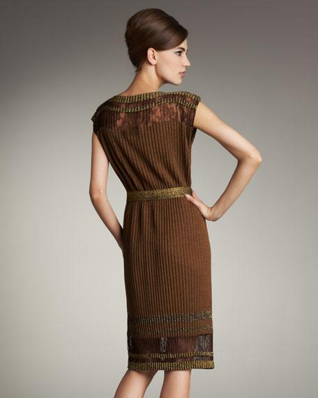 Plisse Lace-Inset Dress