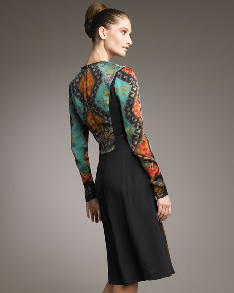 Aztec-Printed Long-Sleeve Dress