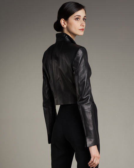 Open-Front Cropped Leather Jacket
