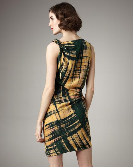 Plaid-Print Drawstring Dress