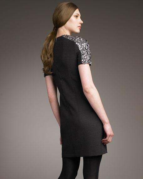 Crystal-Shoulder Merino Dress