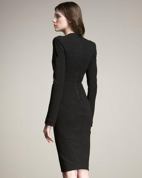 Long-Sleeve Plunging-V Sheath Dress