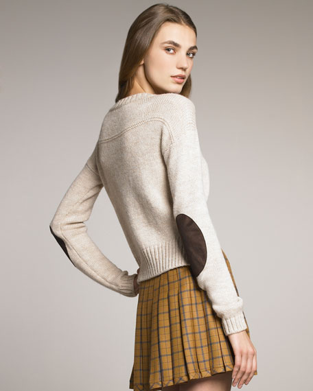 Cropped Elbow-Patch Sweater