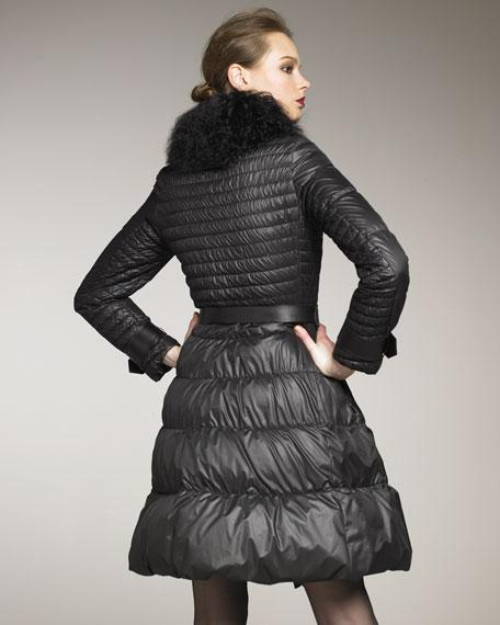 Fur-Collar A-line Puffer Coat
