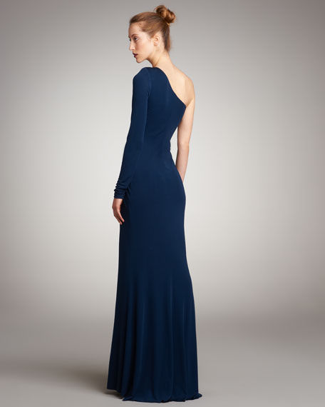 One-Sleeve Ruched Jersey Gown