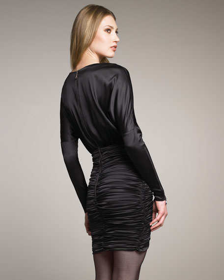 Ruched Zip-Sleeve Dress