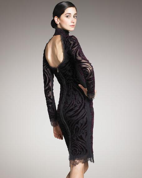 Velvet-Embroidered Dress