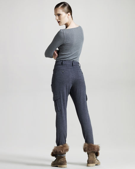 Pleated Wool Cargo Pants