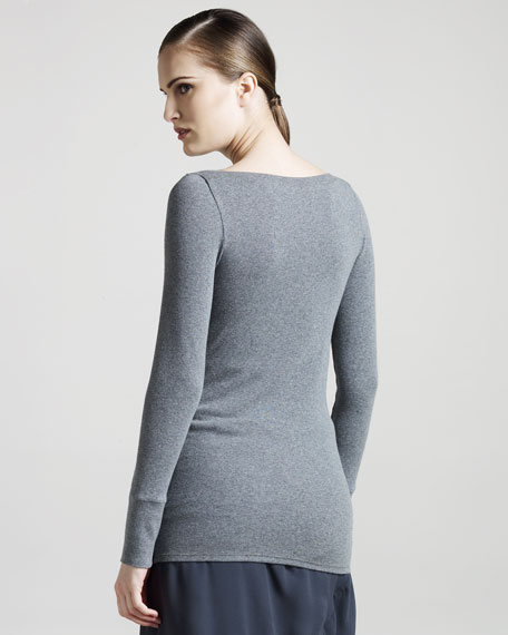Ribbed Boat-Neck Jersey Top