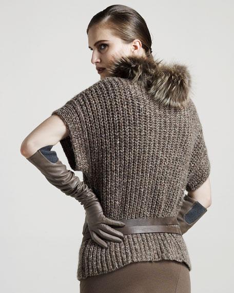 Fur-Collar Tweed Pullover