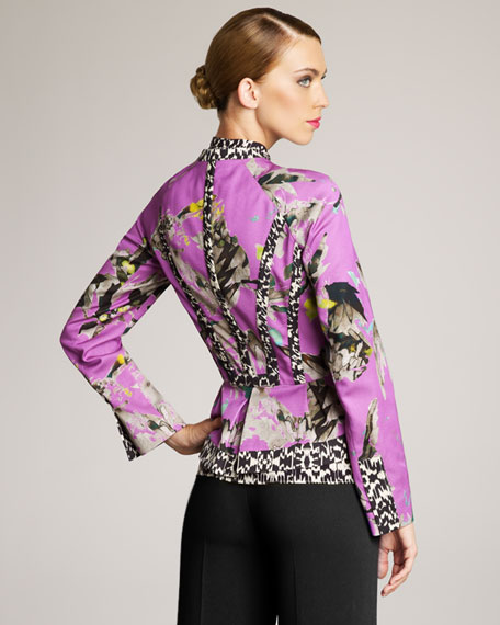 Mixed-Print Peplum Jacket
